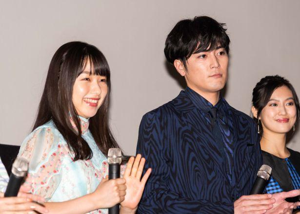 『殺さない彼と死なない彼女』の完成披露舞台挨拶に登壇した間宮祥太朗と桜井日奈子