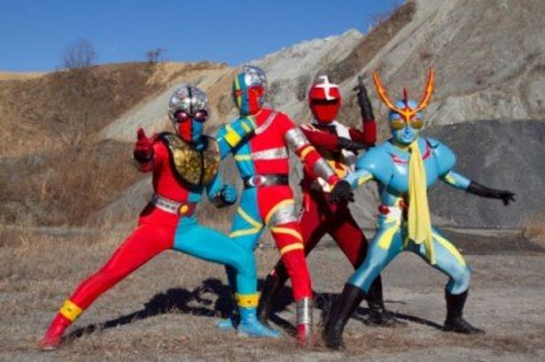 左からキカイダー01、キカイダー、怪傑ズバット、イナズマン