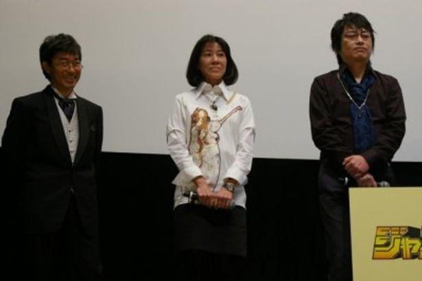 『ワンピース』シリーズで声優を務める左から、ブルック役のチョー、ニコ・ロビン役の山口由里子、サンジ役の平田広明