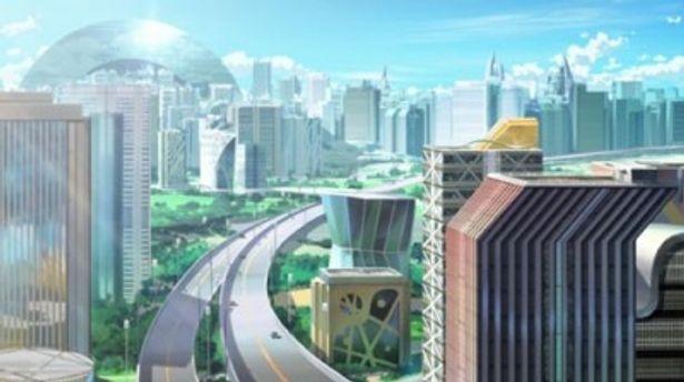 物語の舞台オリュンポス。映画同様、半円型の巨大な建物が印象的