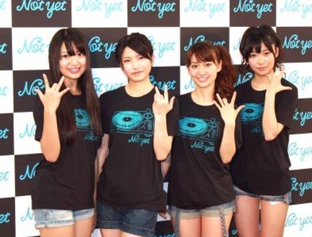 初ライブを行ったNot yet(左から北原里英、横山由依、大島優子、指原莉乃)
