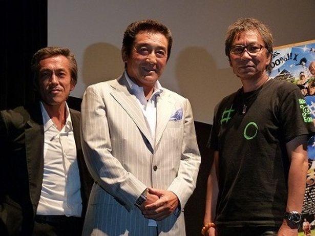 『忍たま乱太郎』に出演の、左から、寺島進、松方弘樹、監督の三池崇史
