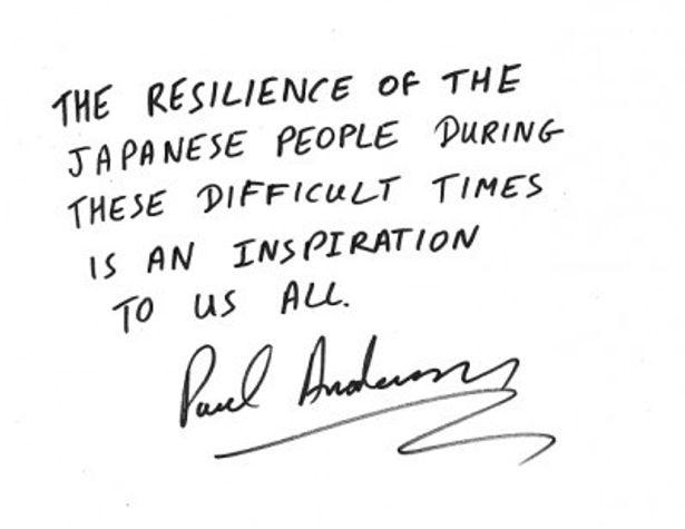 「このような難しい状況での 日本の皆さんの立ち上がる力は私たち皆を鼓舞します」と、ポール・W・S・アンダーソン監督