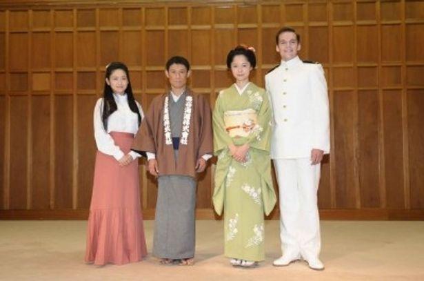 「蝶々さん~最後の武士の娘~」に出演する池脇千鶴、伊藤淳史、宮崎あおい、イーサン・ランドリー(写真左から)