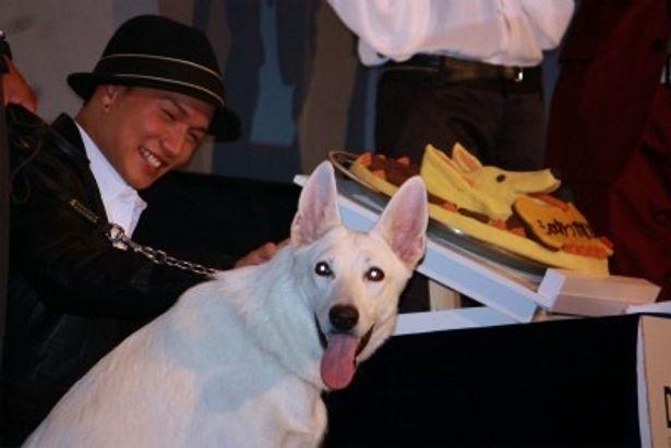 【写真をもっと見る】市原隼人はケーキをほおばる犬を見て満面の笑みを見せた