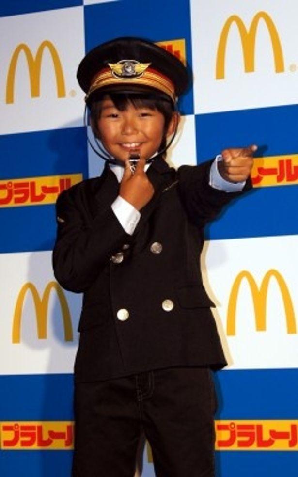 「出発進行!」のかけ声をする加藤清史郎