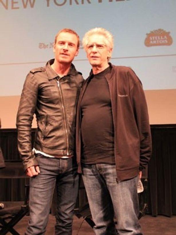 【写真】デヴィッド・クローネンバーグ監督と主役のマイケル・ファスベンダーらが記者会見に応じた