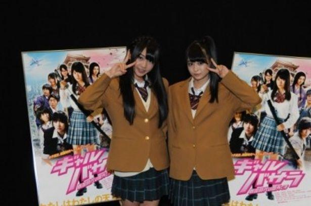 名古屋で行われた初日舞台挨拶に登壇したSKE48木崎ゆりあと小木曽汐莉