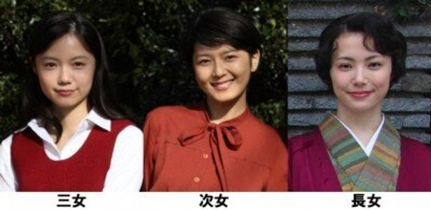 本作で三姉妹を演じている、左から、宮崎あおい、菊池亜希子、ミムラ