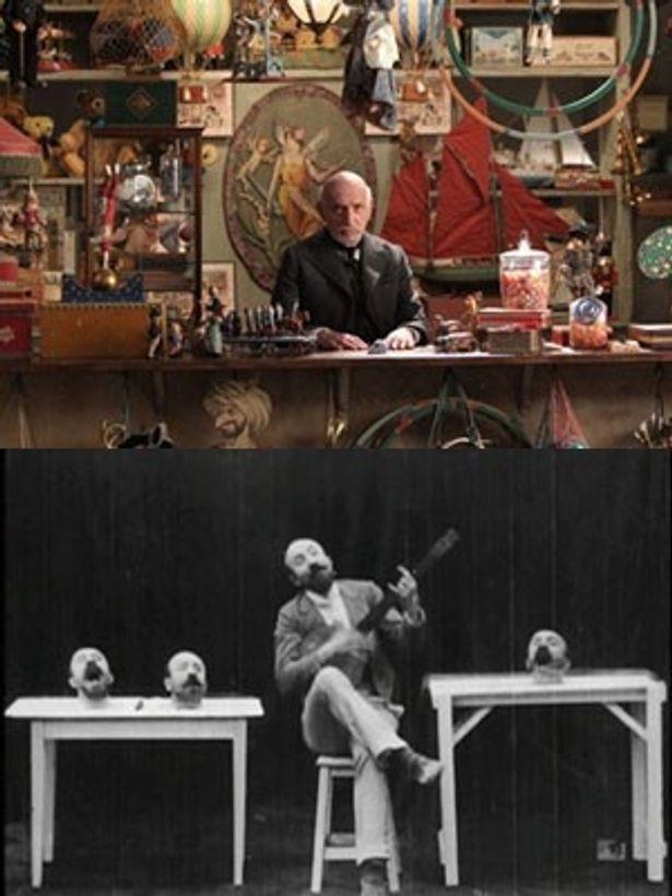 『ヒューゴの不思議な発明』劇中で登場する老人ジョルジュ(上)と、特殊撮影で映画の新境地を切り拓いたジョルジュ・メリエス(下)