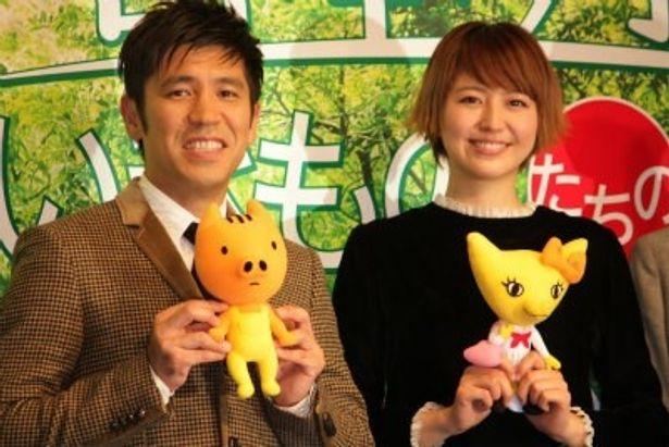 『日本列島 いきものたちの物語』の会見に出席した長澤まさみとゴリ