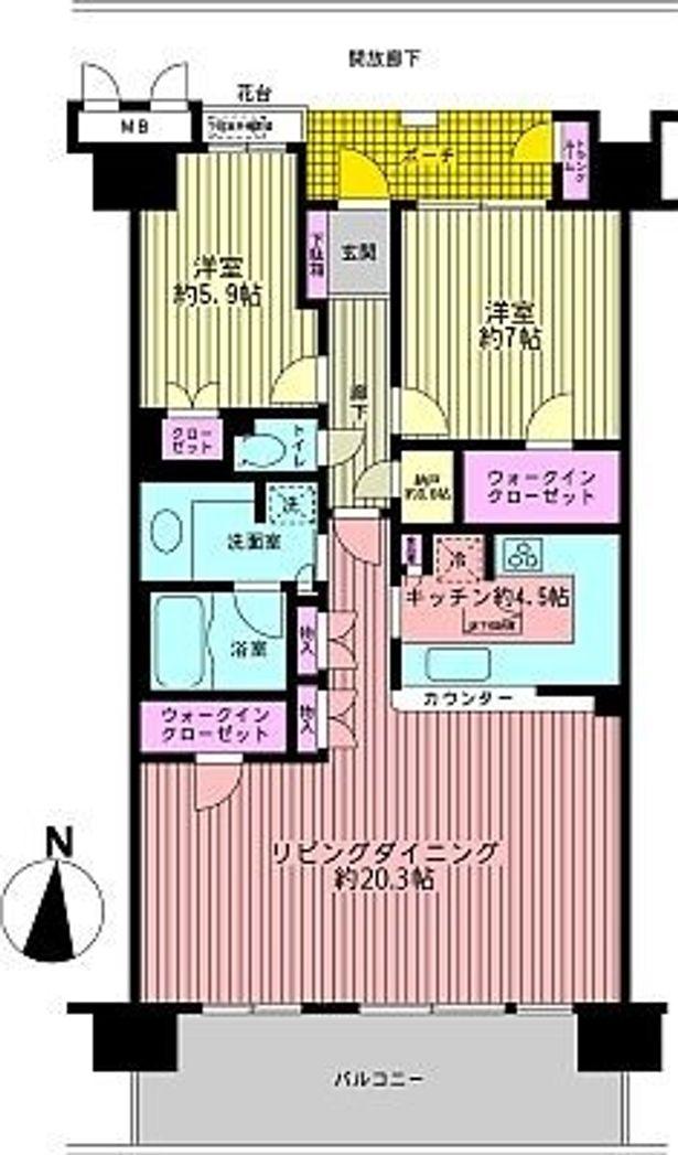 未婚者の理想の物件12.8万円のイメージ間取り図