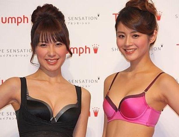 20代目トリンプガールの金田彩菜さんと田辺岬さん(右)