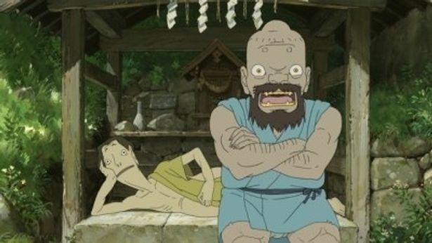ももを見守る妖怪のイワ(右)。「ルックスが何となく自分と似ている」と西田敏行は語る