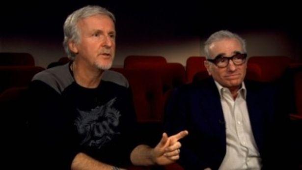 ジェームズ・キャメロン監督とマーティン・スコセッシ監督(右)