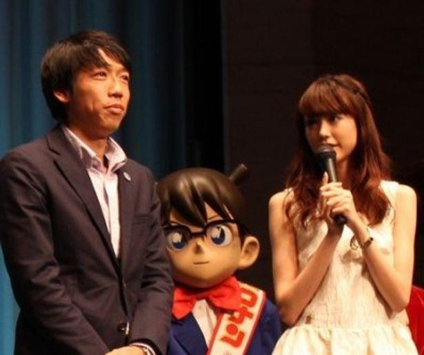 『名探偵コナン 11人目のストライカー』の完成披露試写会に登壇した桐谷美玲と中村憲剛選手