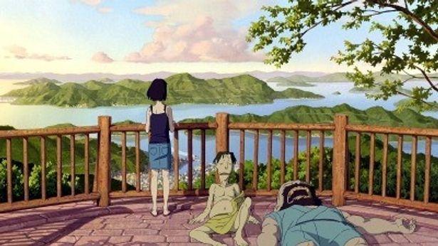 夏の瀬戸内海の汐島の景色が美しい