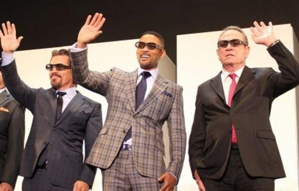『メン・イン・ブラック3』のジャパンプレミアに登場したウィル・スミス、トミー・リー・ジョーンズ、ジョシュ・ブローリン