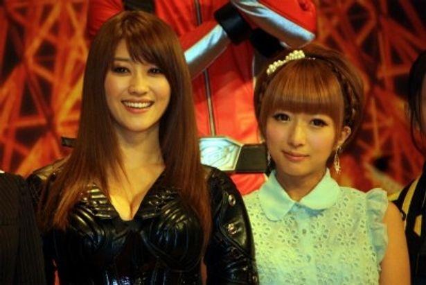 『仮面ライダーフォーゼ』に出演する原幹恵と、『ゴーバスターズ』で声優を務める辻希美