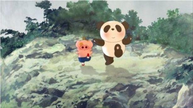 左が主人公で子ブタのマクダル。右が謎のパンダのホンポウくん