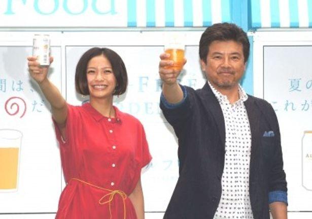 「オールフリーガーデン」オープニングイベントに登場した榮倉奈々と三浦友和(写真左から)