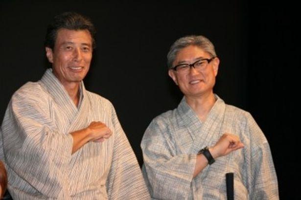 『エイトレンジャー』の初日舞台挨拶に登壇した舘ひろし、堤幸彦監督