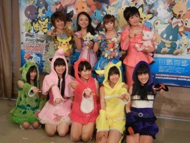 「ピカチュウ・ザ・ライブ2012」の囲み取材に登場した小林幸子、林明日香、松本梨香、ももいろクローバーZ