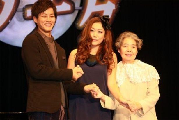 『ツナグ』のイベントに登壇した松坂桃李、樹木希林、JUJU