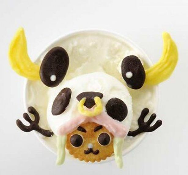 """""""牛トナカイ""""の帽子を被ったチョッパーを再現した「ミルクたっぷり!チョッパージェラート」(760円)"""