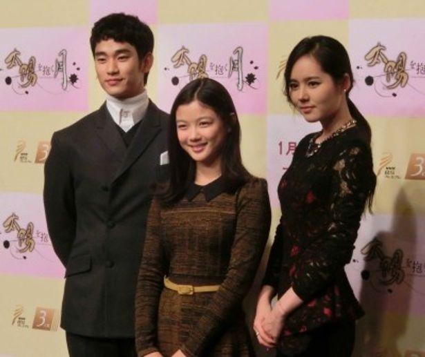 韓国歴史ドラマ「太陽を抱く月」に出演しているキム・スヒョン、キム・ユジョン、ハン・ガイン(左から)