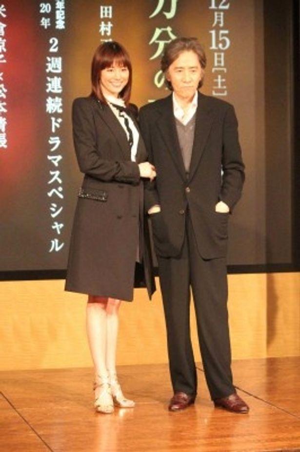 「十万分の一の偶然」、「熱い空気」合同制作発表記者会見に登壇した米倉涼子、田村正和(写真左から)