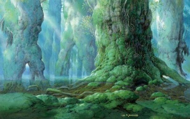 『もののけ姫』(1997年劇場)に登場するシシ神の住む森。山本二三の背景画は繊細でリアリティがあり、神聖で荘厳な雰囲気に飲み込まれそうになる
