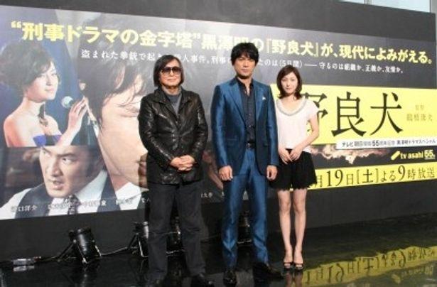 トークショーに登場した鶴橋康夫監督、江口洋介、広末涼子(写真左から)