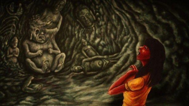 両親を殺された高校生・紅子は人間と仏像が融合したかのような仏像人間と遭遇する