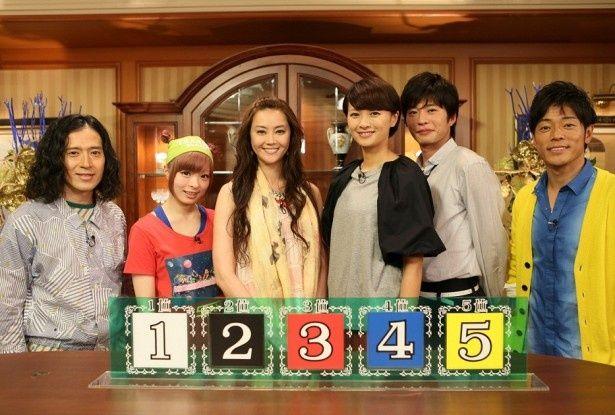 ピース・又吉直樹、きゃりーぱみゅぱみゅ、観月ありさ、榮倉奈々、田中圭、陣内智則(写真左から)