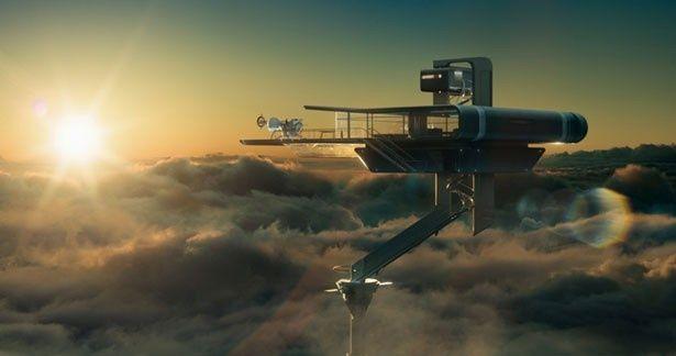 こちらが『オブリビオン』に登場するスカイタワー。設備もロケーションも文句なし!?