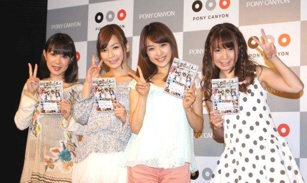 発売記念イベントに登場した七海なな、かすみ果穂、みひろ、糸矢めい(写真左から)