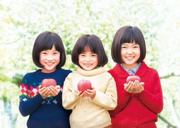 黒髪おかっぱに笑顔がとってもかわいい3姉妹。本当の姉妹かと思うくらいよく似ている。写真左から渡邉空美、小泉颯野、畠山紬