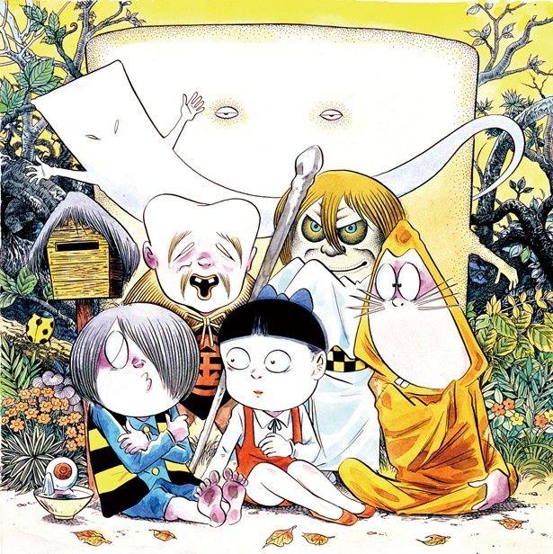 「鳥取県境港でくつろぐ鬼太郎ファミリー」。妖怪のどこかユーモラスな魅力は水木氏の作品にも受け継がれている