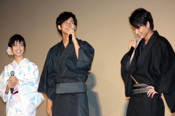 松坂桃李と綾野剛が剛力彩芽の浴衣姿にメロメロ