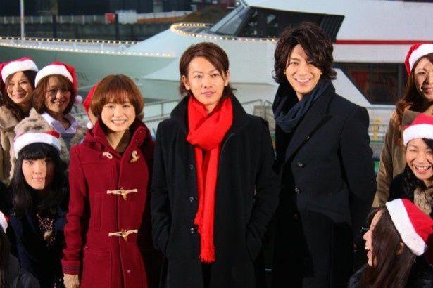 「カノ嘘」の豪華なフェリーのイベントに登壇した佐藤健、三浦翔平、大原櫻子