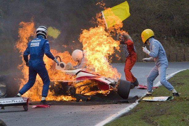 1976年のドイツグランプリで起きた炎上事故もリアルに再現