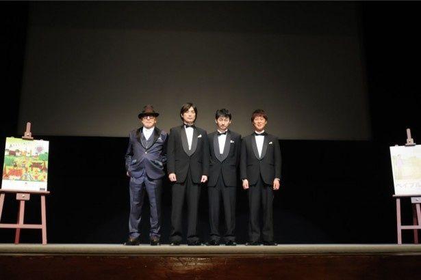 舞台挨拶に登壇した申相祐、趙たみ和、波岡一喜、高山トモヒロ監督(写真左より)