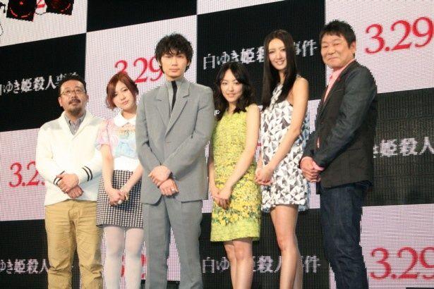 映画「白ゆき姫殺人事件」のトークイベントに登場した(左から)中村義洋監督、小野恵令奈、綾野剛、井上真央、菜々緒、ダンカン