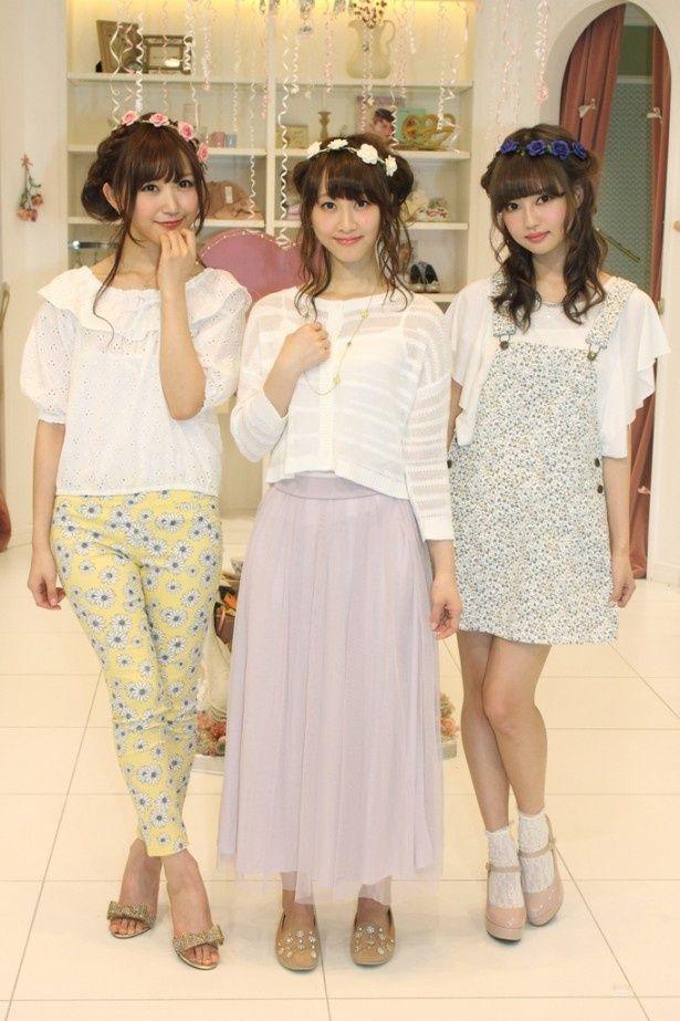 「LARME×GU コラボレーションイベント」に登場したSKE48・松井玲奈(中央)、菅野結以(左)、中村里砂(右)