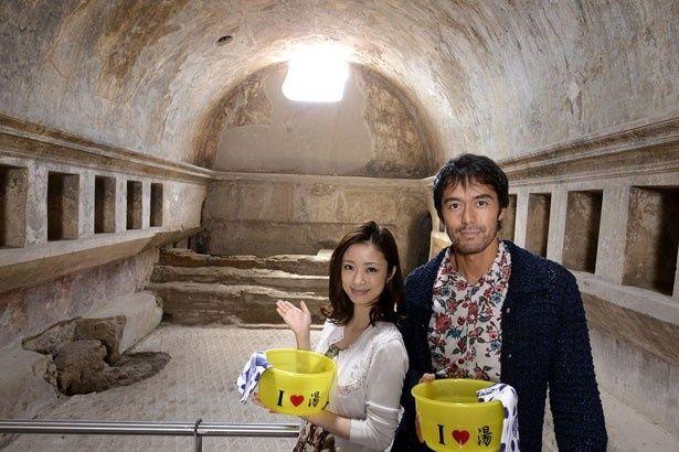 2400年前に建設されたスタビアーネ浴場で阿部は「サウナや床暖房などが2000年も前からあったとは!」と感激