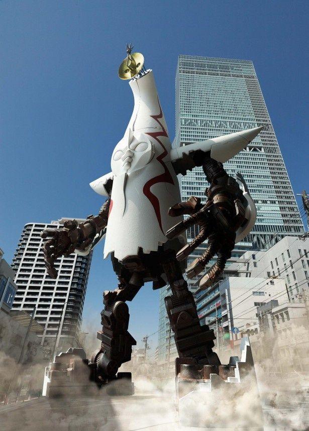 塔の中に格納した手足を展開すると、太陽の塔がロボに変身!