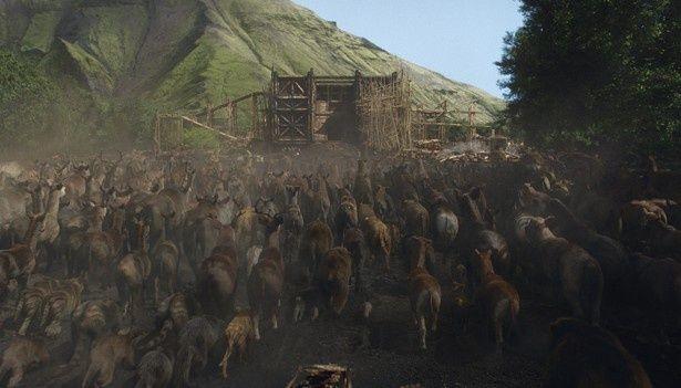 完成した箱舟に動物たちが乗り込むシーンの迫力は圧巻!