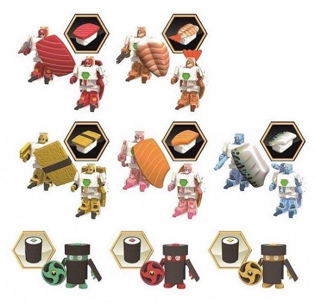 「お寿司戦隊シャリダー」のキャラクターは、チームシャリダー5種類とテマキッズ3種類の全8種類を展開。一押しでお寿司からロボットに瞬間変形
