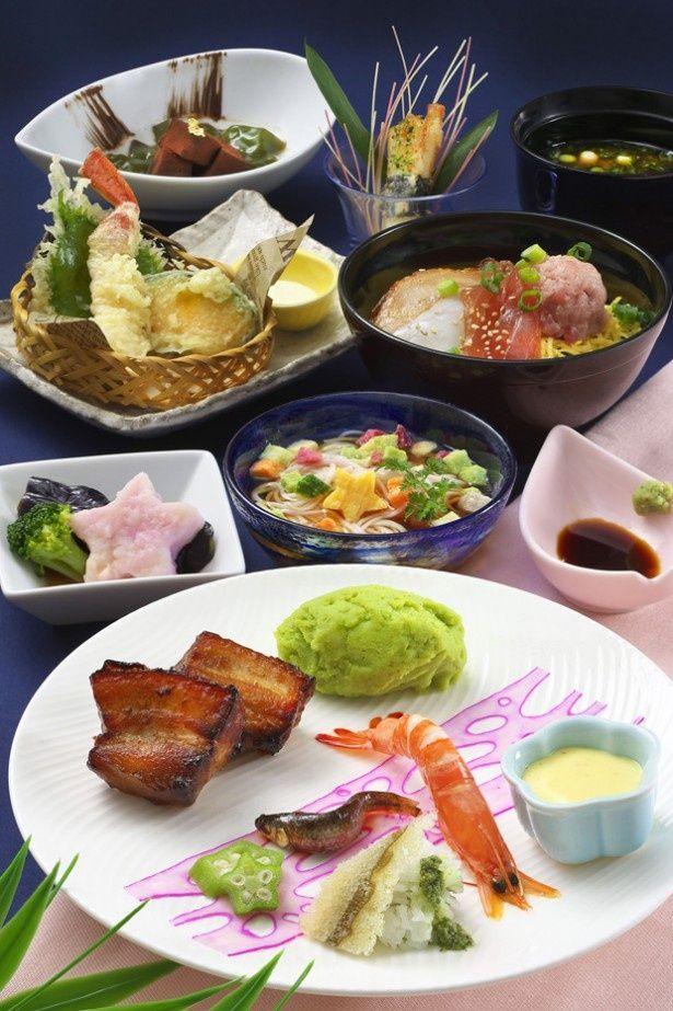 東京ディズニーシー「レストラン櫻」の期間限定メニュー「スペシャルセット」。前菜の蓮根(レンコン)の酢漬けで天の川をイメージするなど、七夕らしい料理